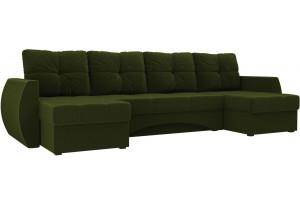 П-образный диван Сатурн Зеленый (Микровельвет)