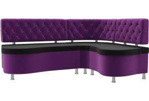 Кухонный угловой диван Вегас черный/фиолетовый (Микровельвет)