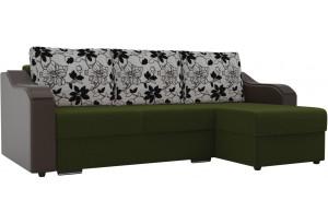 Угловой диван Монако Зеленый/Коричневый/Цветы (Микровельвет/экокожа/рогожка)