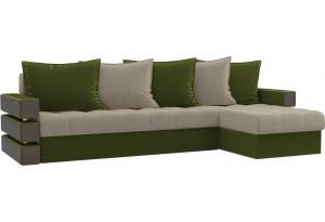 Угловой диван Венеция бежевый/зеленый (Микровельвет)