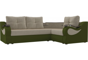 Угловой диван Митчелл бежевый/зеленый (Микровельвет)