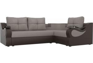 Угловой диван Митчелл бежевый/коричневый (Рогожка/Экокожа)