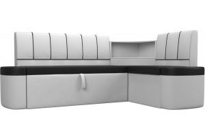 Кухонный угловой диван Тефида Черный/Белый (Экокожа)