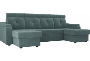 П-образный диван Джастин бирюзовый (Велюр)