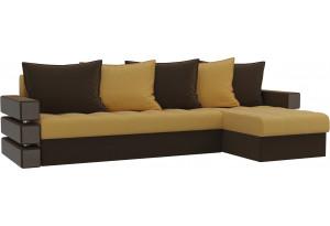 Угловой диван Венеция Желтый/коричневый (Микровельвет)