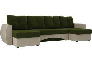 П-образный диван Сатурн Зеленый/Бежевый (Микровельвет)