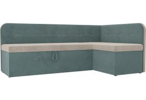 Кухонный угловой диван Форест бежевый/бирюзовый (Велюр)