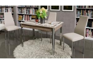 Стол обеденный на металлических ножках «Палермо» Дуб Сонома трюфель/Стекло бежевое с рисунком