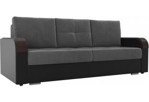 Прямой диван Мейсон Серый/черный (Велюр)
