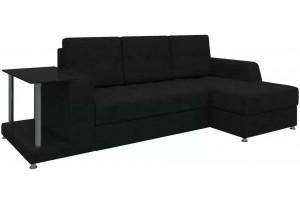 Угловой диван Атланта Черный (Микровельвет)
