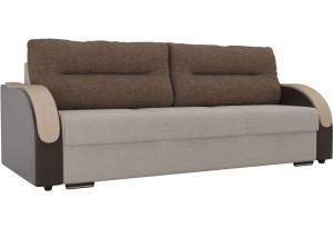 Прямой диван Дарси бежевый/коричневый (Рогожка/Экокожа)
