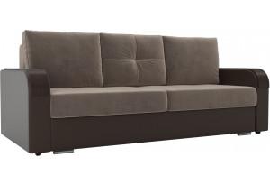 Прямой диван Мейсон коричневый/коричневый (Велюр/Экокожа)