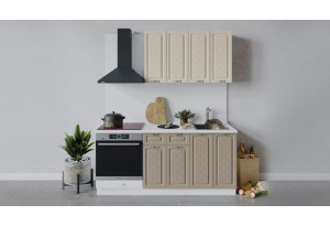 Кухонный гарнитур «Бьянка» длиной 180 см со шкафом НБ (Белый/Дуб ваниль/Дуб кофе)