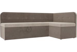 Кухонный угловой диван Форест бежевый/коричневый (Велюр)