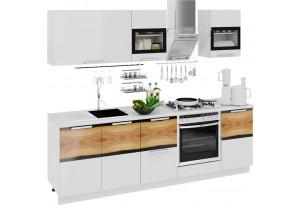Кухонный гарнитур длиной - 240 см (со шкафом НБ) Фэнтези (Белый универс)/(Вуд)