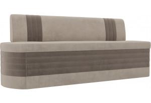 Кухонный прямой диван Токио бежевый/коричневый (Велюр)