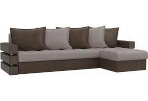 Угловой диван Венеция бежевый/коричневый (Рогожка)