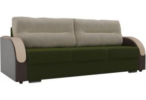 Прямой диван Дарси зеленый/коричневый (Микровельвет/Экокожа)