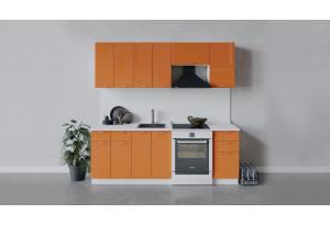 Кухонный гарнитур «Весна» длиной 220 см (Белый/Оранж глянец)