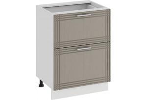 Шкаф напольный с двумя ящиками «Ольга» (Белый/Кремовый)