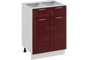 Шкаф напольный с двумя ящиками и двумя дверями «Весна» (Белый/Бордо глянец)