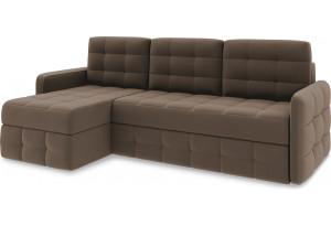 Диван угловой левый «Райс Slim Т1» Beauty 04 (велюр) коричневый