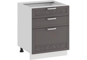 Шкаф напольный с тремя ящиками «Долорес» (Белый/Муссон)