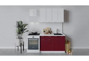 Кухонный гарнитур «Весна» длиной 120 см (Белый/Белый глянец/Бордо глянец)