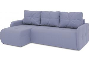Диван угловой левый «Томас Slim Т1» (Poseidon Blue Graphite (иск.замша) серо-фиолетовый)