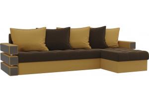Угловой диван Венеция Коричневый/Желтый (Микровельвет)