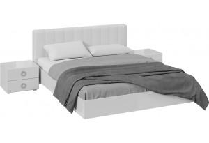 Спальный гарнитур «Глория» стандартный без шкафа (Белый/Белый глянец)