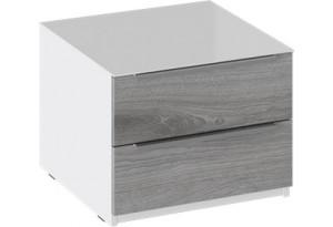 Тумба прикроватная с 2 ящиками «Синди» (Белый глянец/Дуб Гамильтон)