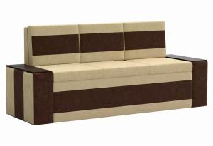 Кухонный прямой диван Лина бежевый/коричневый (Микровельвет)