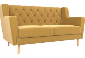 Прямой диван Брайтон 2 Люкс Желтый (Микровельвет)