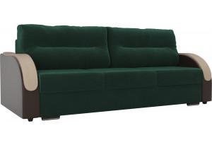 Прямой диван Дарси зеленый/коричневый (Велюр/Экокожа)
