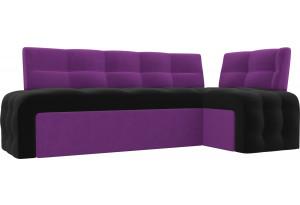 Кухонный угловой диван Люксор черный/фиолетовый (Микровельвет)