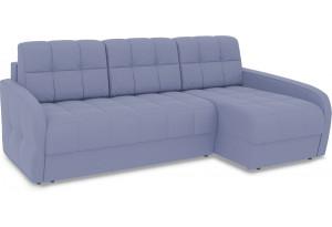 Диван угловой правый «Аспен Slim Т2» (Poseidon Blue Graphite (иск.замша) серо-фиолетовый)