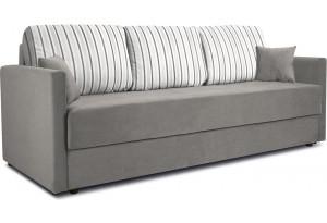 Диван «Поло» Classic 06 серый подушки Strip 03