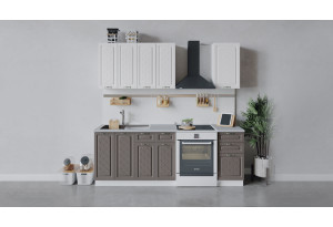 Кухонный гарнитур «Бьянка» длиной 160 см (Белый/Дуб белый/Дуб серый)
