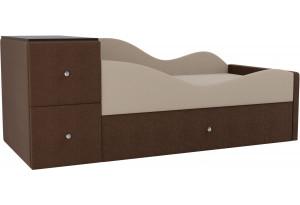 Детская кровать Дельта бежевый/коричневый (Рогожка)
