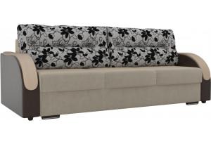 Прямой диван Дарси бежевый/коричневый (Микровельвет/Экокожа)