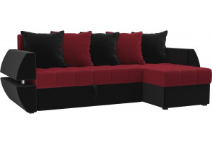 Угловой диван Атлантида У/Т красный/Черный (Микровельвет)
