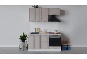 Кухонный гарнитур «Ольга» длиной 160 см со шкафом НБ (Белый/Кремовый)