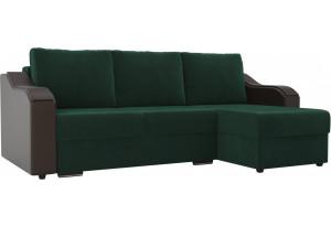Угловой диван Монако зеленый/коричневый (Велюр/Экокожа)