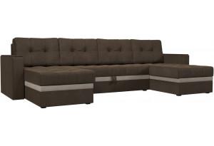 П-образный диван Атланта Коричневый/Бежевый (Рогожка)