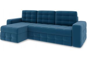 Диван угловой левый «Райс Т1» Beauty 07 (велюр) синий