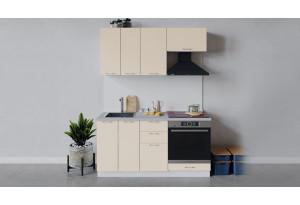 Кухонный гарнитур «Весна» длиной 160 см со шкафом НБ (Белый/Ваниль глянец)