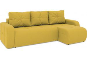 Диван угловой правый «Томас Т1» (Poseidon Curcuma (иск.замша) желтый)