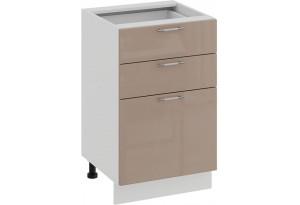 Шкаф напольный с тремя ящиками «Весна» (Белый/Кофе с молоком)