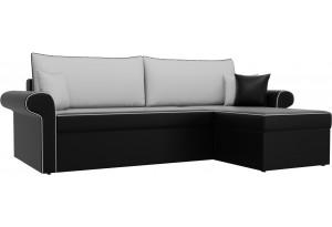 Угловой диван Милфорд Черный/Белый (Экокожа)